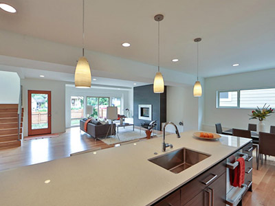 Modern open floor plan infill home