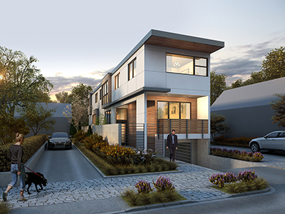 "Modern urban infill ""skinny"" lot home"