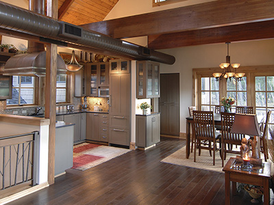 Kitchen in a hybrid timber-frame chalet on the Prospector 7th fairway